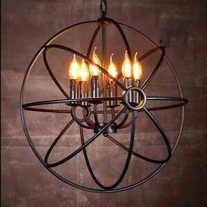 Vintage Globe Chandelier Pendant Light Ceiling Lamp Metal Cage 6 Lights