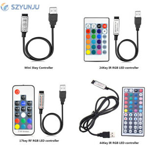 5V USB LED RGB controller 3Key Dimmer 24Key  IR Remoter 17Key RF For LED strip