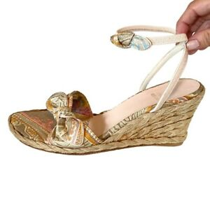 Stuart Weitzman Ankle Strap Sandals Wedge Espadrilles Beige Paisley Size 8.5