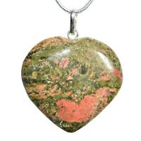 "CHARGED Himalayan Unakite (Salmon) Crystal Heart Pendant + 20"" Chain + Selenite"