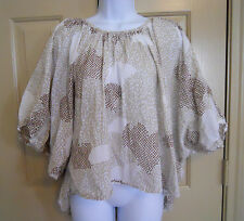 Maeve Couers Batwing Blouse hearts print brown white peasant sz M