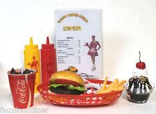 FAKE FOOD DINER CAR HOPCHEESEBURGER MEAL/FRIES W/ 60'S COKE