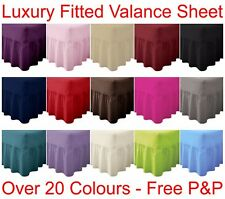 Plain Dyed Fitted Valance Sheet Poly-Cotton Bed Sheet Single Double & King Sizes