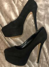Kurt Geiger Carvela Black Suede Women's 5 Inch Stiletto Heel Shoe Size 8