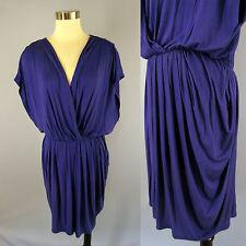 HALOGEN Blue Stretch Jersey Knit Draped Ruched Pleated Surplice Dolman Dress L