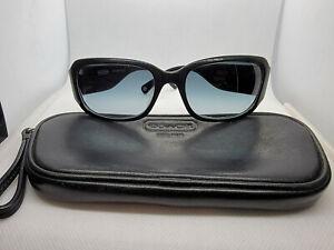COACH S493 LEXI Black Frame Blue Gradient Lens Sunglasses W/ Case 56-18-125
