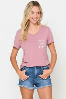 New Womens FAITH HAPPY AND LOVE FRONT BACK PRINTED SIDE ROUCHED TOP S M L XL