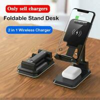 10W 2 in-1 Wireless Charger Phone Stand,Angle&Height Desk Holder Adjustable X6B4