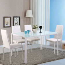 High Gloss Kitchen Dining Room White Table and 4 Faux Leather Dining Chairs Set