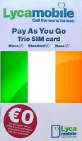 Lycamobile IRISH, PREPAID SIM card. NANO, MICRO or STD size. Ireland. €0 credit.