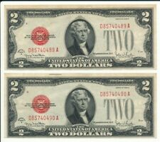 1928G $2 United States Note Red Seal Consecutive Serial Numbers