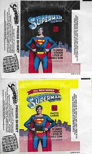 1978 Topps SUPERMAN MOVIE SERIES 1 & 2 Trading Card Wax Wrappers - Max S&H $.99
