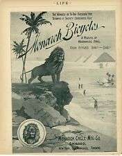 1896 Monarch Bicycles Ad A Marvel of Mechanical Skill Lion Logo Egypt Pyramids