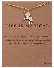 Collana con Ciondolo MAGICO Unicorno con scheda messaggio regalo natale compleanno GD