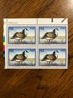 RW 64 1997 $15.00 Canada Goose Duck Stamp, Mint Never Hinged - Plate Block of 4