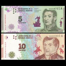 Argentina Set 2 PCS, 5+ 10 Pesos, 2015/2016, P-NEW, New Design, UNC