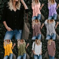 Womens Loose Knit Tunic Blouse Tie Knot Henley Tops Bat Wing Plain Shirts 2018