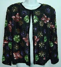 HEAVILY BEADED Multicolor Floral Fully Lined DESIGNER Sample VINTAGE Jacket! L