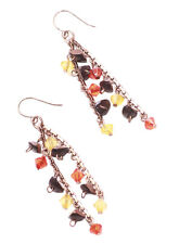 Charismatic Dual Strand Plastic Crystals Charm & Rustic Copper Earrings(Zx104)