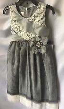 Isobella and Chloe Girls Gray Lace Top Party Dress Sz 5-New
