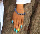 New Lapis Lazuli Beads Stretch Bracelet Single Line Chakra Natural Genuine Feel