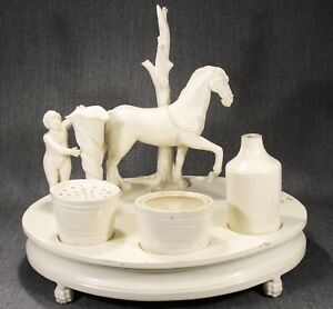Antique 19th C. Continental Creamware Figural Desk Stand from Zeitlin Collection
