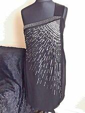 MONSOON Embellished Mirror Beaded Semi Fitted Lined Mock Wrap Little Black Dress