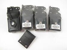 Lot of 4 Motorola Ntn8036B Leather Radio Carrying Cases + 1x extra Belt clip