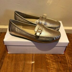 Isaac Mizrahi Amberlyn Gold Leather Driving Moccasin Shoes Women's Size 8.5 W