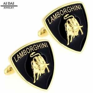 Men's Executive Cufflinks Lamborghini automotive car logo Gold Shield Cuff Links