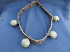 ANTIQUE PRIMITIVE OLD BEADED HORSE NECKLACE COLLAR DECORATION WITH COPPER BELLS