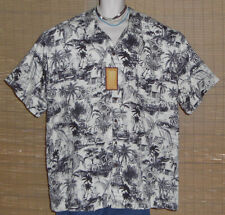 Caribbean Joe Hawaiian Shirt Black White Islands Rayon Size 3XL NWT