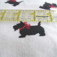 Flannel fabric white Scotty Dog Toss half yard cut 1/2 red bow