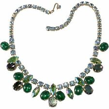Schiaparelli Vintage 1950s Necklace Green Crackle Glass Iridescent Rhinestones