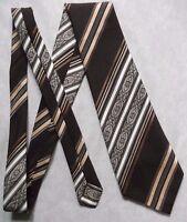 Tie TOOTAL Vintage Mens Necktie Retro MOD Casual 1970s 1980s BROWN CREAM