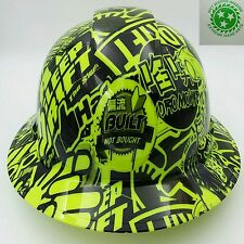 Hard Hat custom hydro dipped , OSHA approved FULL BRIM STICKER BOMB LIME GREEN
