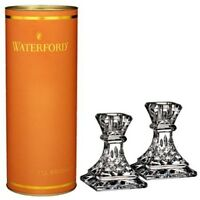 """Waterford Crystal Giftology Collection Lismore 4"""" Candlesticks Pair Set of 2 New"""