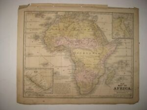 ANTIQUE 1852 AFRICA LIBERIA EGYPT HANDCOLORED DATED MAP SLAVE SLAVERY COAST RARE