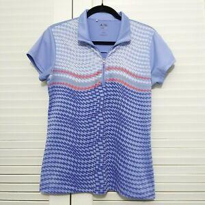 Adidas Womens Size Medium Purple Climalite Short Sleeve Zip Front Golf Shirt