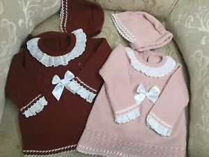 Baby girls knit dress set with bonnet 3 months 6 months Spanish romany