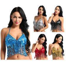 Para Mujeres Disfraz de danza del vientre Latino Lentejuelas Borla BRA Tops raves danzas Club Wear