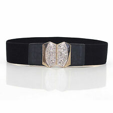04a0b707a Ladies Stretch Elasticated Waist Belt Diamante Buckle for Fashion 65mm Wide  484