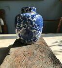 Chinese antique blue and white Qing porcelain tea caddy with lid floral motifs
