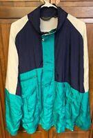Christian Dior Monsieur Men L Nylon Windbreaker Track Jacket Green Blue Vintage