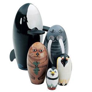 5Pcs/Set Wooden Whale Penguin Animal Matryoshka Nesting Dolls Figurines Kids Toy
