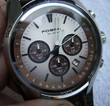 Mens FOSSIL COACHMAN CH-2565 Analog Quartz CHRONOGRAPH Watch-Leather Band-RUNS