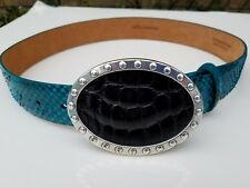 $338 W Kleinberg Genuine Python blue Black Wide Belt Size S 30 made in USA