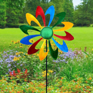 Metal Wind Spinner Garden Windmill Outdoor Yard Lawn Colorful Pinwheel Decor
