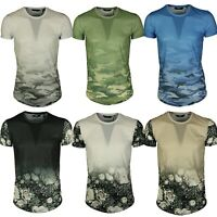 Enzo Mens Short Sleeve T Shirts Smart Casual Crew Neck Summer Floral Design Tee