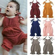 Infant Baby Toddler Plain Strappy Sleeveless Romper Jumpsuit Kids Cute Clothes